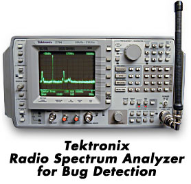 Tektronix electronic spectrum analyzer used to detect electronic bugs and surveillance devices. Technical Surveillance Counter Measures (TSCM) bug sweeping bugsweeps